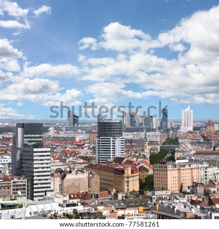 Vienna, Austria. Aerial view with the skyscraper district. Square composition.