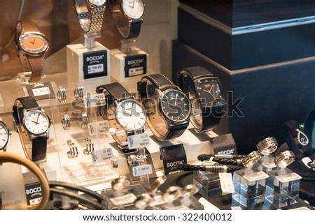 VIENNA, AUSTRIA - AUGUST 09, 2015: Luxury Watches For Sale In Shop Window Display.