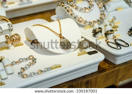 VIENNA, AUSTRIA - AUGUST 15, 2015: Luxury Woman Jewels For Sale In Shop Window Display.