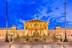 Vienna, Austria. Austrian parliament building, Ringstrasse, Innere Stadt in Wien.