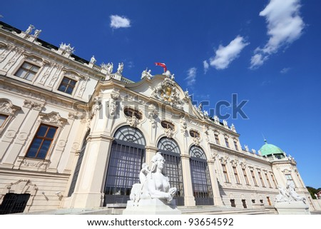 Vienna, Austria - Belvedere Palace building. The Old Town is a UNESCO World Heritage Site.