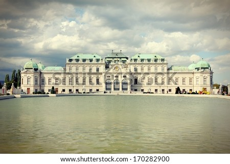 Vienna, Austria - Belvedere Palace building. The Old Town is a UNESCO World Heritage Site. Cross processed retro color tone.