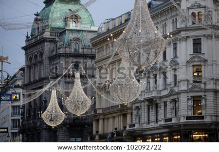VIENNA, AUSTRIA - DECEMBER 09: famous Graben street by night on December 09,2011 in Vienna, Austria. The Graben traces its origin back to the old Roman encampment of Vindobona.