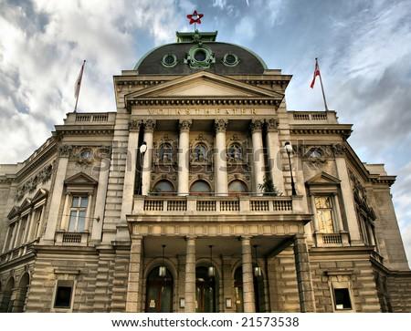 """Vienna, Austria - December 3, 2008: Volkstheater , Vienna's """"People's Theater,"""" built in 1889, in the morning in Vienna, Austria"""