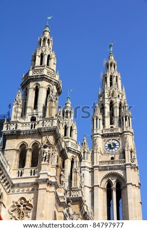 Vienna, Austria - famous City Hall building. The Old Town is a UNESCO World Heritage Site.