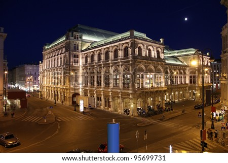 Vienna, Austria - famous Staatsoper (State Opera) building at night. The Old Town is a UNESCO World Heritage Site.
