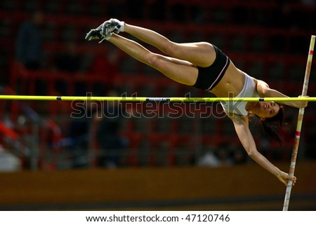 VIENNA,  AUSTRIA - FEBRUARY 16:  Vienna indoor  track and field meeting.  Eros Eniko (Hungary) places 3rd in the women's pole vault  event on February 16, 2010 in Vienna, Austria.