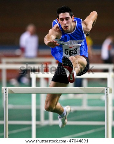 VIENNA,  AUSTRIA - FEBRUARY 16  Vienna indoor  track and field meeting. Sanjin Simic (Croatia) places  10th in the men's 60m hurdles event on February 16, 2010 in Vienna, Austria.