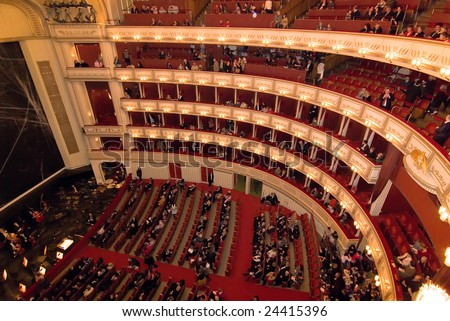 VIENNA, AUSTRIA - JANUARY 2:  Viena State Opera house interior before first performance of the year the Nutcracker ballet on January 2, 2009 in Vienna, Austria. The event brought out a multinational audience to see the performance.