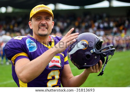 VIENNA,  AUSTRIA - JUNE 7: Austrian Football League: Kicker Peter Kramberger (#2, Vikings) and his team win 31:17 against the Graz Giants on June 7, 2009 in Vienna, Austria.