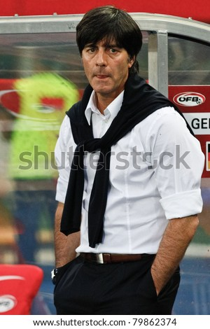 VIENNA,  AUSTRIA - JUNE 3 German coach Joachim Loew during the EURO 2012 soccer game on June 3, 2011 in Vienna, Austria. Austria loses 1:2