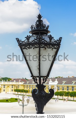 VIENNA, AUSTRIA - JUNE 17: Lamppost of the Schonbrunn Palace on June, 17, 2013 in Vienna, Austria. It was a royal residence of Franz Joseph and Elisabeth