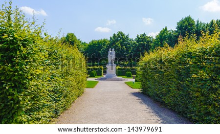 VIENNA, AUSTRIA - JUNE 17: Monument in the Schonbrunn Palace gardens on June, 17, 2013 in Vienna, Austria. It's a former imperial 1,441-room Rococo summer residence in modern Vienna,