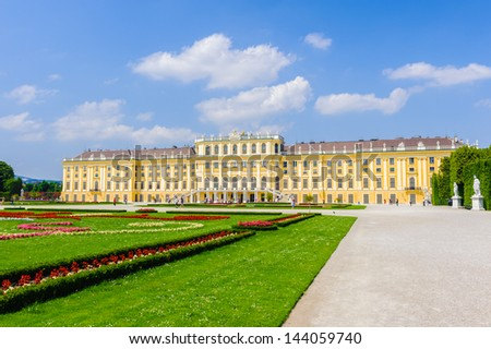 VIENNA, AUSTRIA - JUNE 17: Schonbrunn Palace and gardens on June, 17, 2013 in Vienna, Austria. It's one of the most important cultural monuments and one of the major tourist attractions in Vienna.