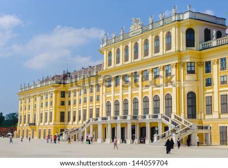 VIENNA, AUSTRIA - JUNE 17: Schonbrunn Palace on June, 17, 2013 in Vienna, Austria. It's a former imperial 1,441-room Rococo summer residence in modern Vienna,