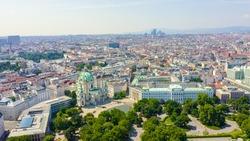 Vienna, Austria. Karlskirche is a Catholic church located in the southern part of Karlsplatz in Vienna, Aerial View