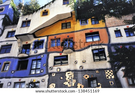 VIENNA, AUSTRIA - MAY 14: Hundertwasser Haus on May 14, 2013 in Vienna. Designed by Austrian artist and architect Friedensreich Hundertwasser with the architect Josef Cravinho