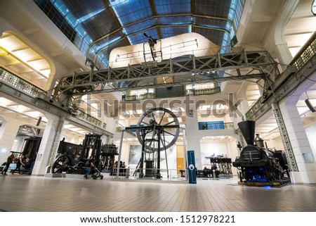 Vienna, Austria - May 28, 2019. Interior of the Vienna Technical Museum.
