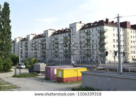 VIENNA, AUSTRIA - MAY 31, 2018: Old social housing blocks in the 2nd district (Leopoldstadt) of Vienna #1106339318
