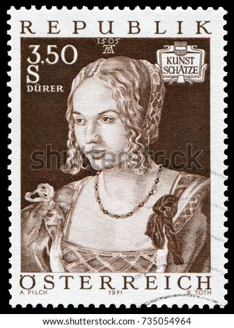Vienna, Austria - May 6, 1971: Portrait of a Venetian Woman by German artist Albrecht Durer in 1505. The painting is in the Kunsthistorisches Museum in Vienna. Stamp issued by Austria Post in 1971.