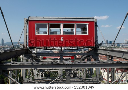 VIENNA, AUSTRIA - MAY 25: The Wiener Riesenrad (Viennese ferris wheel) erected in 1897, one of Vienna's most popular tourist attractions in Prater park on May 25, 2009.
