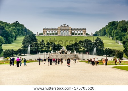 VIENNA, AUSTRIA - MAY 14: View on Gloriette in Schonbrunn Palace, Vienna, Austria on May 14, 2006. The Gloriette is a main focal point and destination for tourists in the palace gardens.