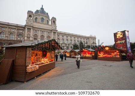 VIENNA, AUSTRIA - NOVEMBER 22: Christmas Market at Maria-Theresien-Platz   in November 22, 2011 in Vienna, Austria.   Maria-Theresien-Platz is a large square and a popular tourist site in Vienna.