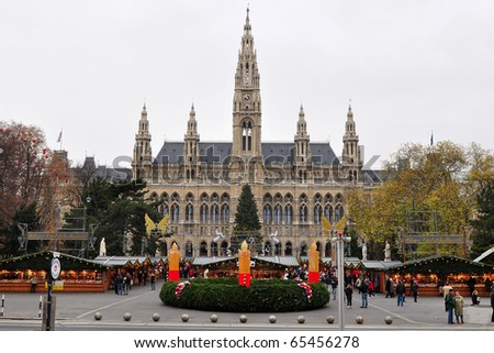 VIENNA, AUSTRIA-NOVEMBER 17: Opening of traditional Christmas trade near old town hall on November 17, 2010 in Vienna, Austria.