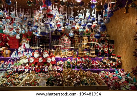 VIENNA, AUSTRIA  - NOVEMBER 22: Store  at Christmas Markets near old city hall in Austria. The Vienna Christmas Market on November 22, 2011 in Vienna, Austria.  Kiosk with Christmas toys and gifts
