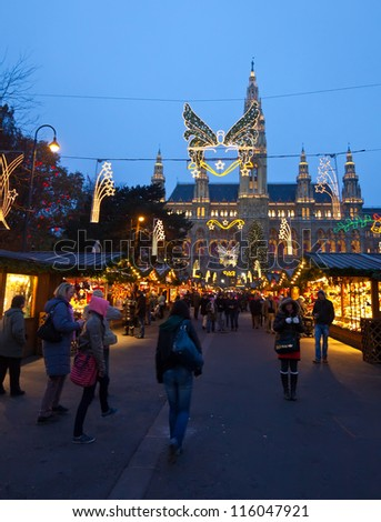 VIENNA, AUSTRIA - NOVEMBER 22: Traditional Christmas market near old town hall  in November 22, 2011 in Vienna, Austria. This market is focused on authentic handicrafts made by local artists