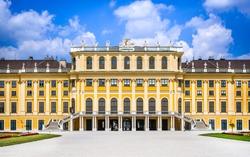 Vienna, Austria. Schonbrunn garden in austrian capital city. Baroque style architecture palace in Wien, Europe.