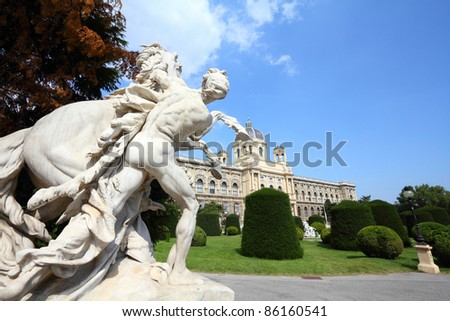 Vienna, Austria - sculpture in front of Natural History Museum. The Old Town is a UNESCO World Heritage Site.