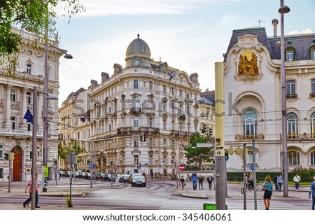 VIENNA, AUSTRIA- SEPTEMBER 10, 2015: Cityscape  views of one of Europe\'s most beautiful town- Vienna. Peoples on streets, urban life Vienna. Austria