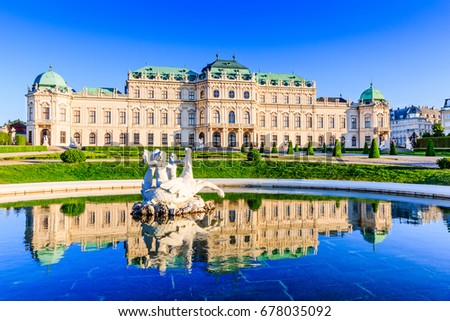 Vienna, Austria. Upper Belvedere Palace with reflection in the water fountain.
