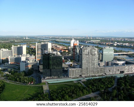 Vienna city panorama with office buildings UNO city  taken from Donau Tower.