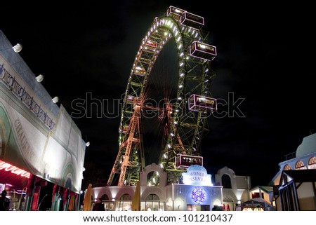 VIENNA - DECEMBER 10: Wiener Riesenrad in Prater on December 10, 2011 in Vienna, Austria.  Giant Ferris Wheel (64.75-metre tall) is one of the best attractions of the city