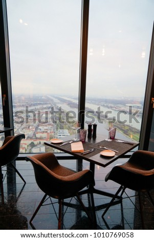 Vienna Donau City, Austria - 20 December 2017 - 57 Restaurant & Lounge, part of Melia Hotel Vienna on the top floor of the new DC Towers #1010769058