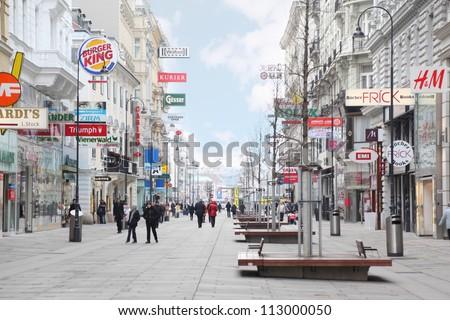 VIENNA- FEB 19: Main pedestrian street Kartner Strasse on FEB 19, 2011,  in Vienna, Austria. Main street of Vienna Kartner Strasse has more than 150 stores.