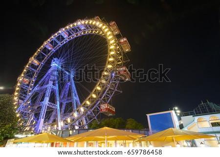 Vienna giant ferris wheel in Prater. Austria Stock photo ©
