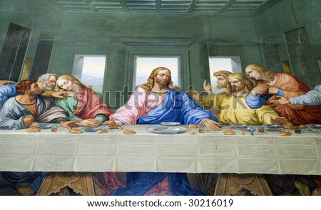 VIENNA - JANUARY 15: Mosaic of Last supper of Jesus by Giacomo Raffaelli from year 1816 as copy of Leonardo da Vinci work on January 15. 2013 in VIenna.