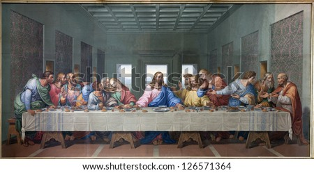 VIENNA - JANUARY 15: Mosaic of Last supper of Jesus by Giacomo Raffaelli in the Minoriten church from year 1816 as copy of Leonardo da Vinci work on January 15. 2013 in Vienna.