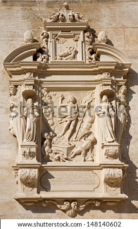 VIENNA - JULY 27:  Tomb stone with the resurrection of Jesus relief from west facade of monastery church in Klosterneuburg on July 27, 2013 Vienna.