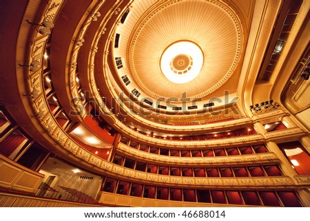 Vienna opera interior. Wide angle view. - stock photo