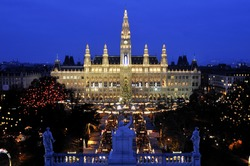 Vienna's Town Hall (Rathaus) with Christmas Market in front