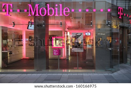 VIENNA - SEPTEMBER 4: T-Mobile store on September 4, 2011 in Vienna.  As of 2011, T-Mobile (founded 1990) is among top 20 wireless communication providers worldwide (150m subscribers).
