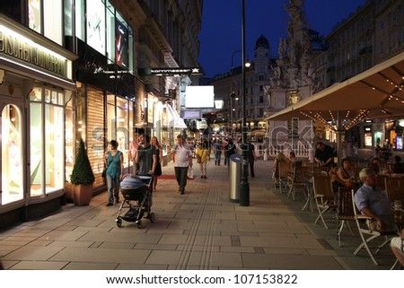 VIENNA - SEPTEMBER 4: Tourists stroll along Graben on September 4, 2011 in Vienna. Graben street is among most recognized streets in Vienna, the 20th most visited city worldwide (int'l visitors 2008).