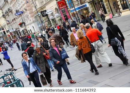 VIENNA - SEPTEMBER 5: Tourists stroll on September 5, 2011 in Graben street in Vienna. As of 2008, Vienna was the 20th most visited city worldwide (by international visitors).