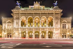 Vienna State Opera at night, Vienna, Austria