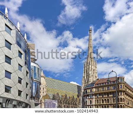Vienna Stephansdom with the Haas-Haus opposite on a sunny day