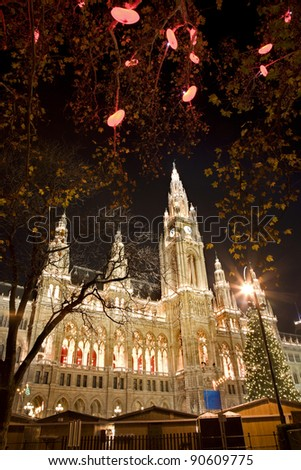 Vienna - town hall and christmas decoration - stock photo